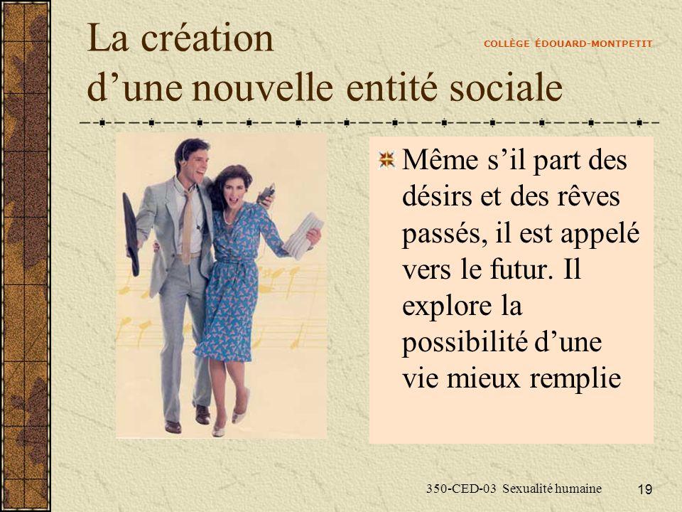 COLLÈGE ÉDOUARD-MONTPETIT 350-CED-03 Sexualité humaine 19 La création dune nouvelle entité sociale Même sil part des désirs et des rêves passés, il est appelé vers le futur.