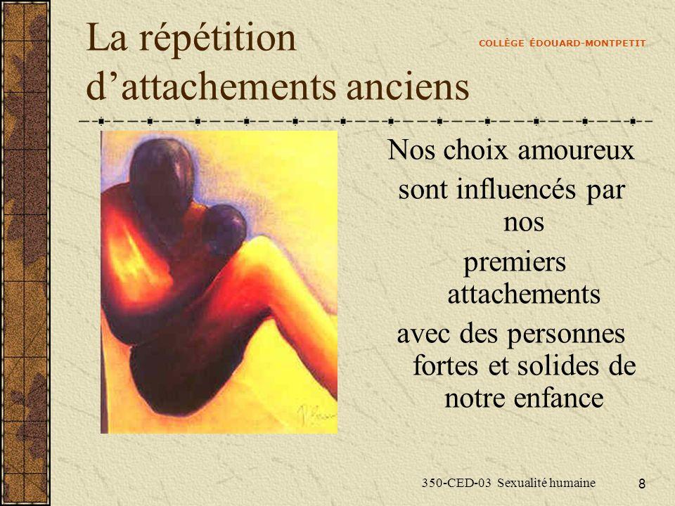 COLLÈGE ÉDOUARD-MONTPETIT 350-CED-03 Sexualité humaine 8 La répétition dattachements anciens Nos choix amoureux sont influencés par nos premiers attac