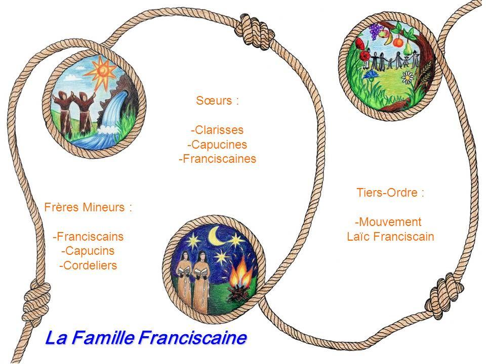 Frères Mineurs : -Franciscains -Capucins -Cordeliers Sœurs : -Clarisses -Capucines -Franciscaines Tiers-Ordre : -Mouvement Laïc Franciscain La Famille Franciscaine