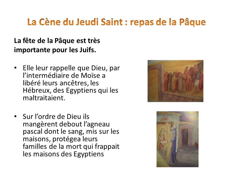 La fête de la Pâque est très importante pour les Juifs. Elle leur rappelle que Dieu, par lintermédiaire de Moïse a libéré leurs ancêtres, les Hébreux,