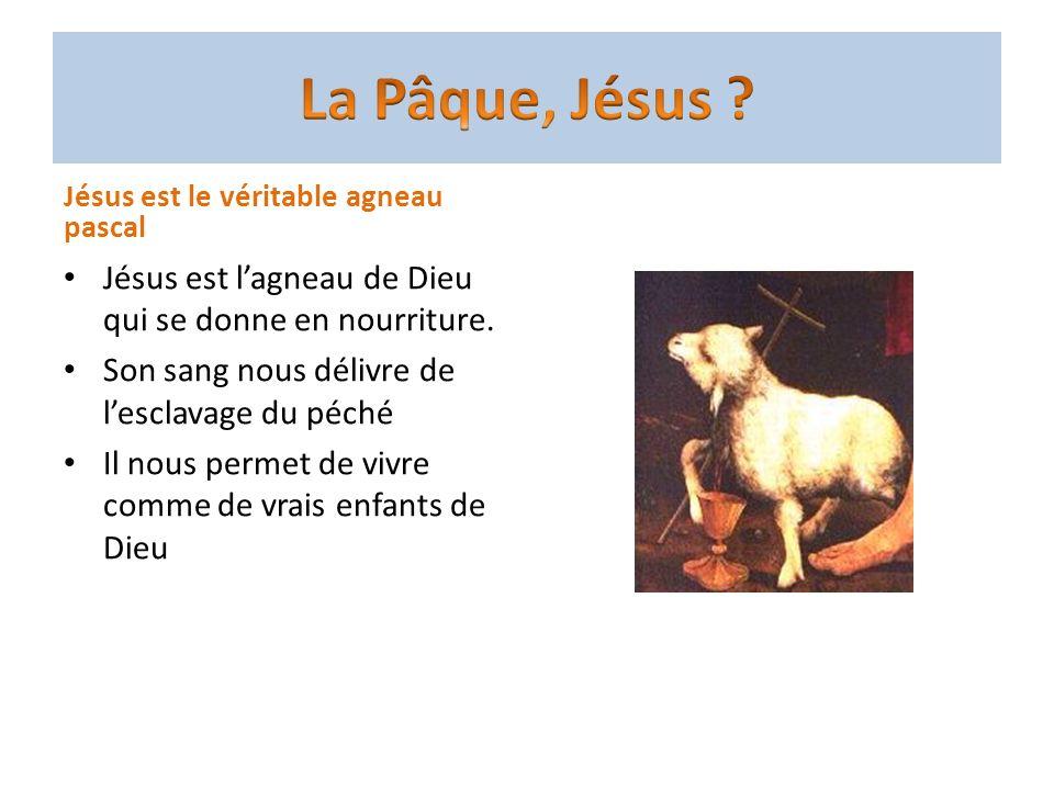 Jésus est le véritable agneau pascal Jésus est lagneau de Dieu qui se donne en nourriture. Son sang nous délivre de lesclavage du péché Il nous permet