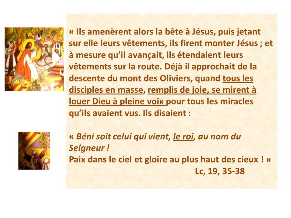 « Ils amenèrent alors la bête à Jésus, puis jetant sur elle leurs vêtements, ils firent monter Jésus ; et à mesure quil avançait, ils étendaient leurs