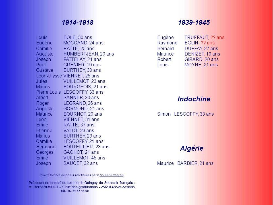 Quatre tombes de poilus sont fleuries par le Souvenir françaisSouvenir français Président du comité du canton de Quingey du Souvenir français : M.