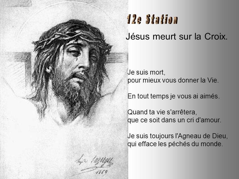 Jésus est cloué à la Croix. Pourquoi je serais mort si je n'avais eu, le grand désir de la gloire du Père et la soif de votre salut ? J'ai ouvert le C