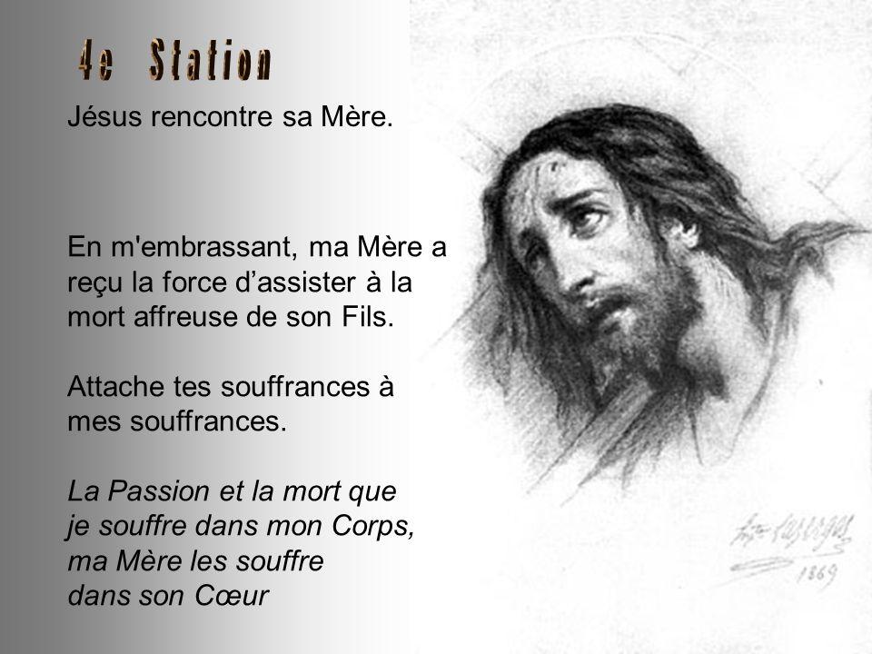 Jésus tombe pour la première fois. La Croix si lourde retombe sur moi, m'écrasant sous son poids. Le sable et la poussière se mêlent à mon Sang pour s