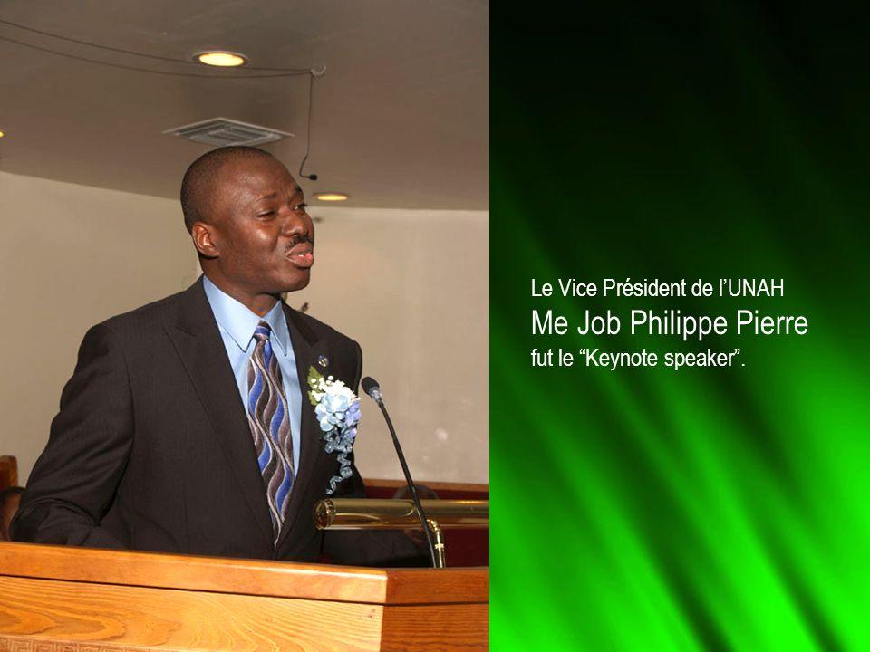 Le Vice Président de lUNAH Me Job Philippe Pierre fut le Keynote speaker.