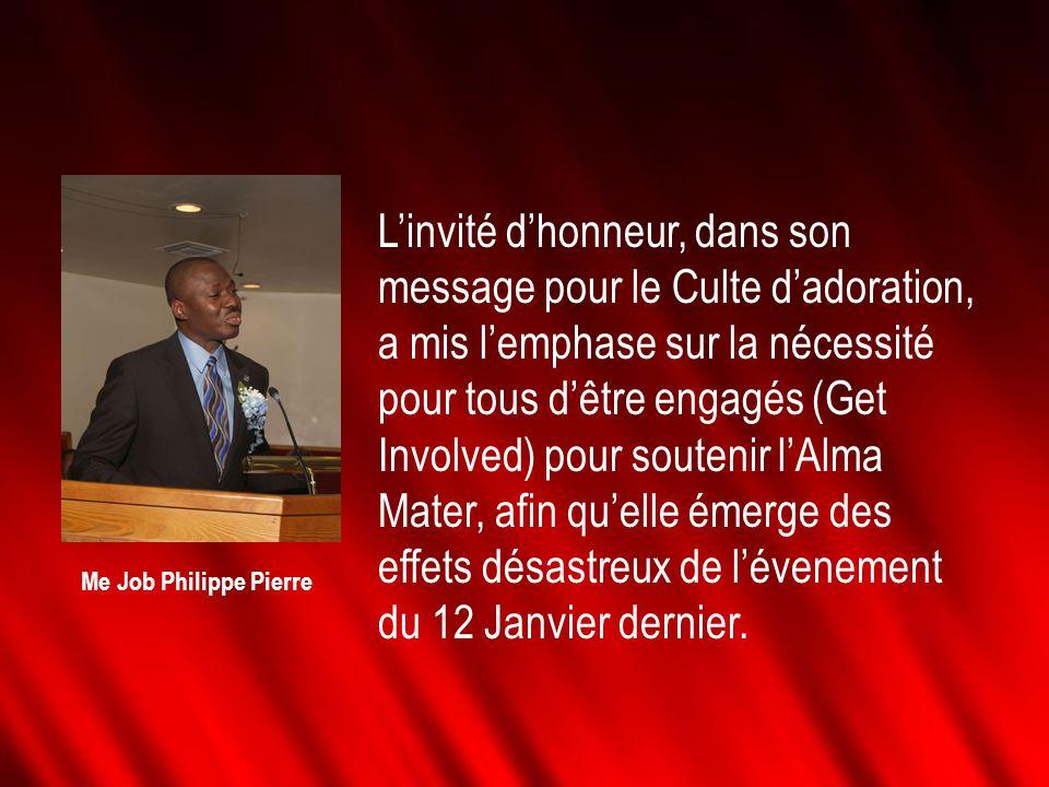 Linvité dhonneur, dans son message pour le Culte dadoration, a mis lemphase sur la nécessité pour tous dêtre engagés (Get Involved) pour soutenir lAlm