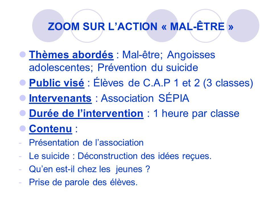 Thèmes abordés : Mal-être; Angoisses adolescentes; Prévention du suicide Public visé : Élèves de C.A.P 1 et 2 (3 classes) Intervenants : Association S