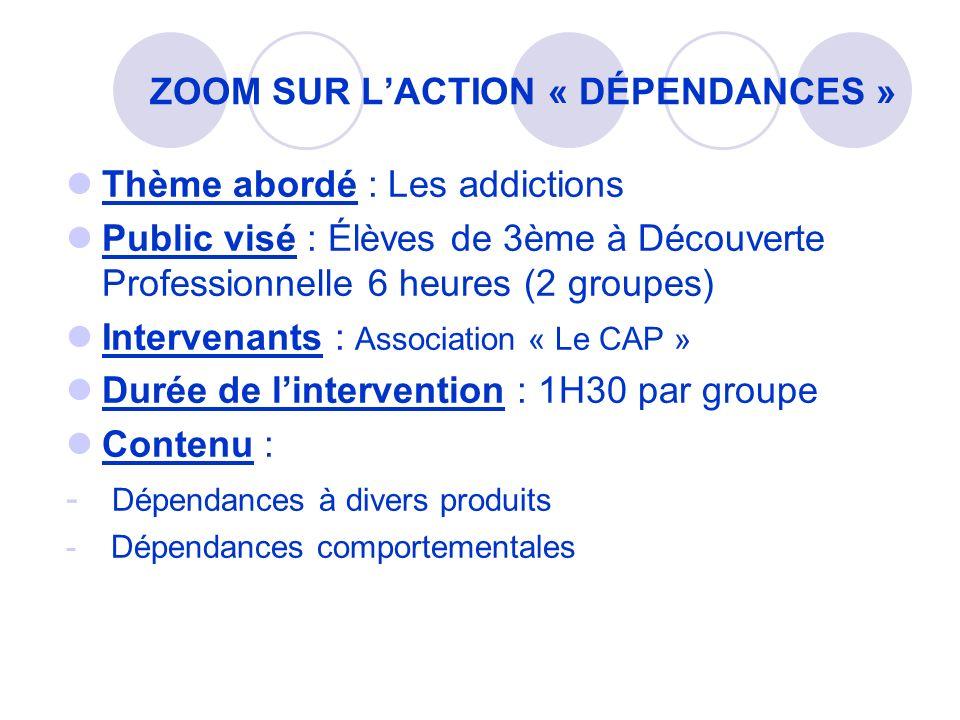 Thème abordé : Les addictions Public visé : Élèves de 3ème à Découverte Professionnelle 6 heures (2 groupes) Intervenants : Association « Le CAP » Dur