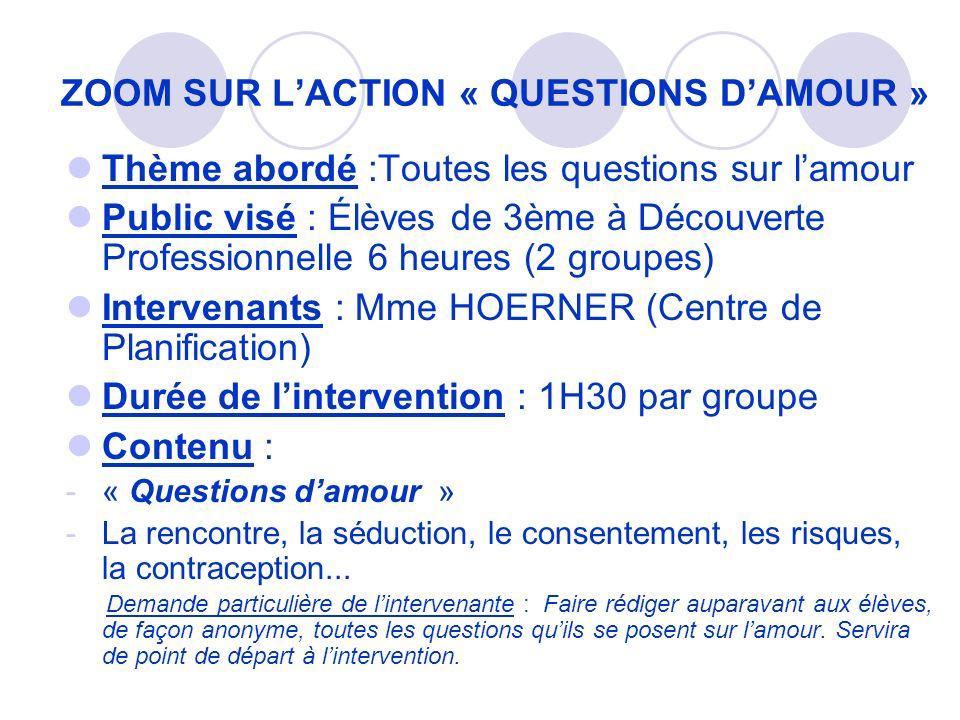 ZOOM SUR LACTION « QUESTIONS DAMOUR » Thème abordé :Toutes les questions sur lamour Public visé : Élèves de 3ème à Découverte Professionnelle 6 heures