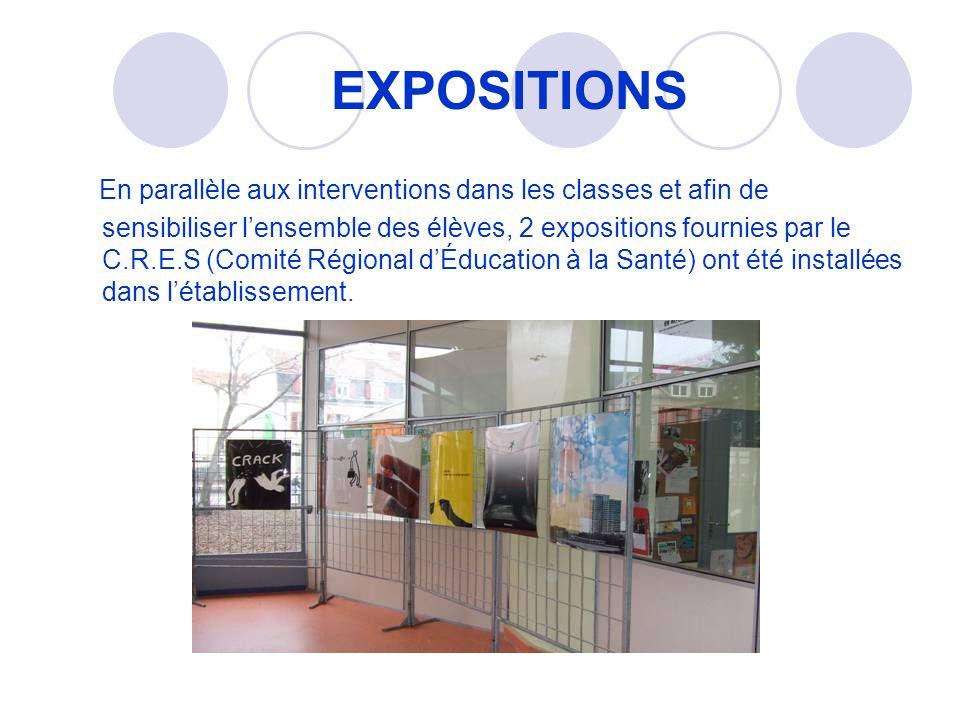 EXPOSITIONS En parallèle aux interventions dans les classes et afin de sensibiliser lensemble des élèves, 2 expositions fournies par le C.R.E.S (Comité Régional dÉducation à la Santé) ont été installées dans létablissement.