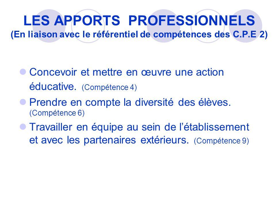LES APPORTS PROFESSIONNELS (En liaison avec le référentiel de compétences des C.P.E 2) Concevoir et mettre en œuvre une action éducative.