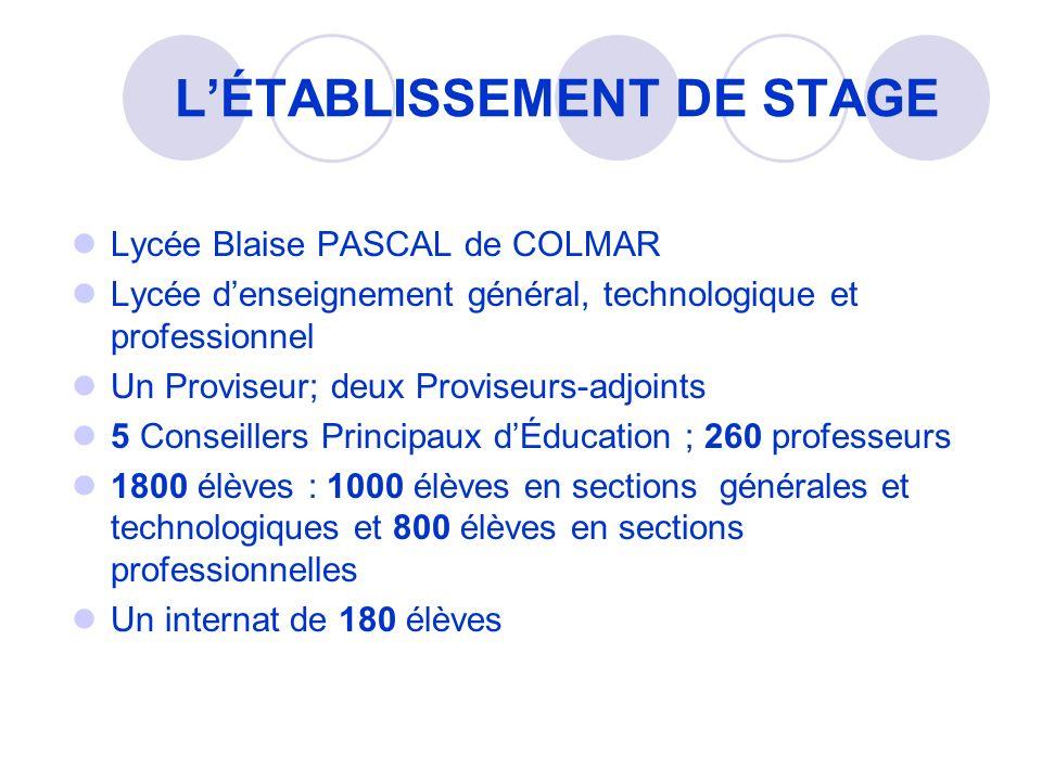 LÉTABLISSEMENT DE STAGE Lycée Blaise PASCAL de COLMAR Lycée denseignement général, technologique et professionnel Un Proviseur; deux Proviseurs-adjoin