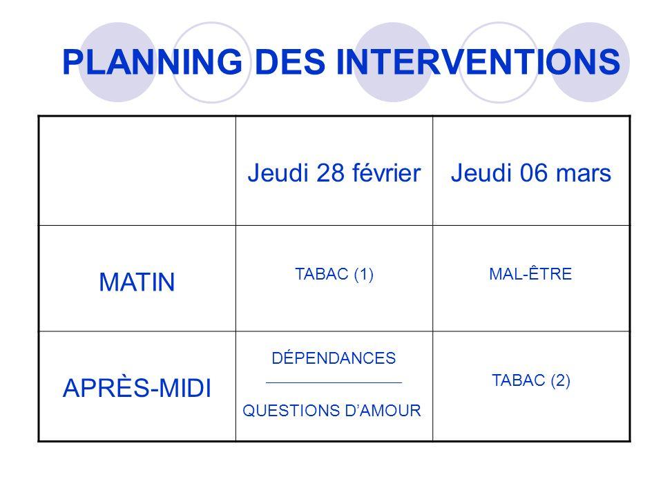 PLANNING DES INTERVENTIONS Jeudi 28 février Jeudi 06 mars MATIN TABAC (1)MAL-ÊTRE APRÈS-MIDI DÉPENDANCES ______________________ QUESTIONS DAMOUR TABAC (2)