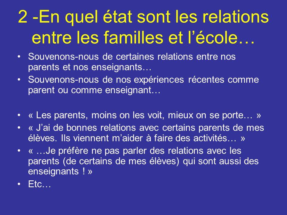 2 -En quel état sont les relations entre les familles et lécole… Souvenons-nous de certaines relations entre nos parents et nos enseignants… Souvenons-nous de nos expériences récentes comme parent ou comme enseignant… « Les parents, moins on les voit, mieux on se porte… » « Jai de bonnes relations avec certains parents de mes élèves.