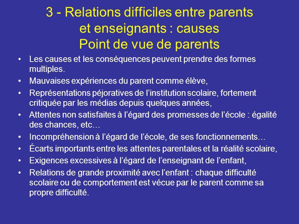 3 - Relations difficiles entre parents et enseignants : causes Point de vue de parents Les causes et les conséquences peuvent prendre des formes multiples.