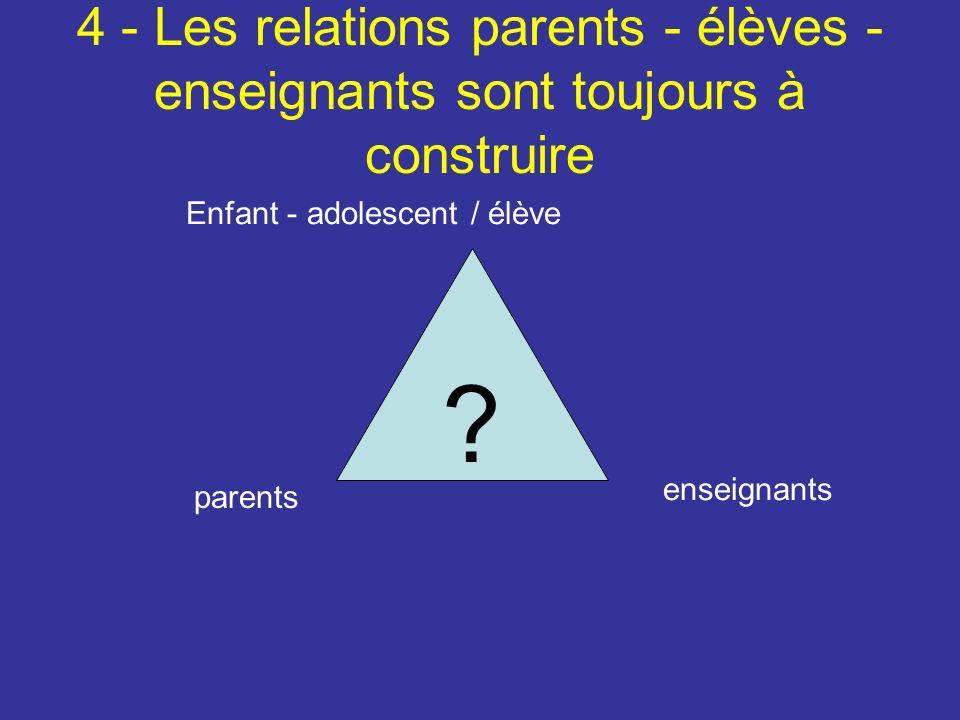 4 - Les relations parents - élèves - enseignants sont toujours à construire .