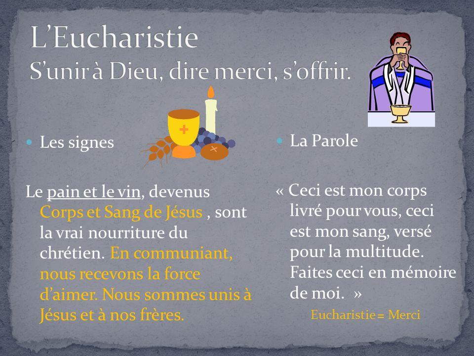 Les signes Le pain et le vin, devenus Corps et Sang de Jésus, sont la vrai nourriture du chrétien.