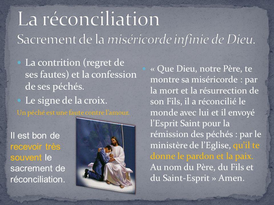 La contrition (regret de ses fautes) et la confession de ses péchés.