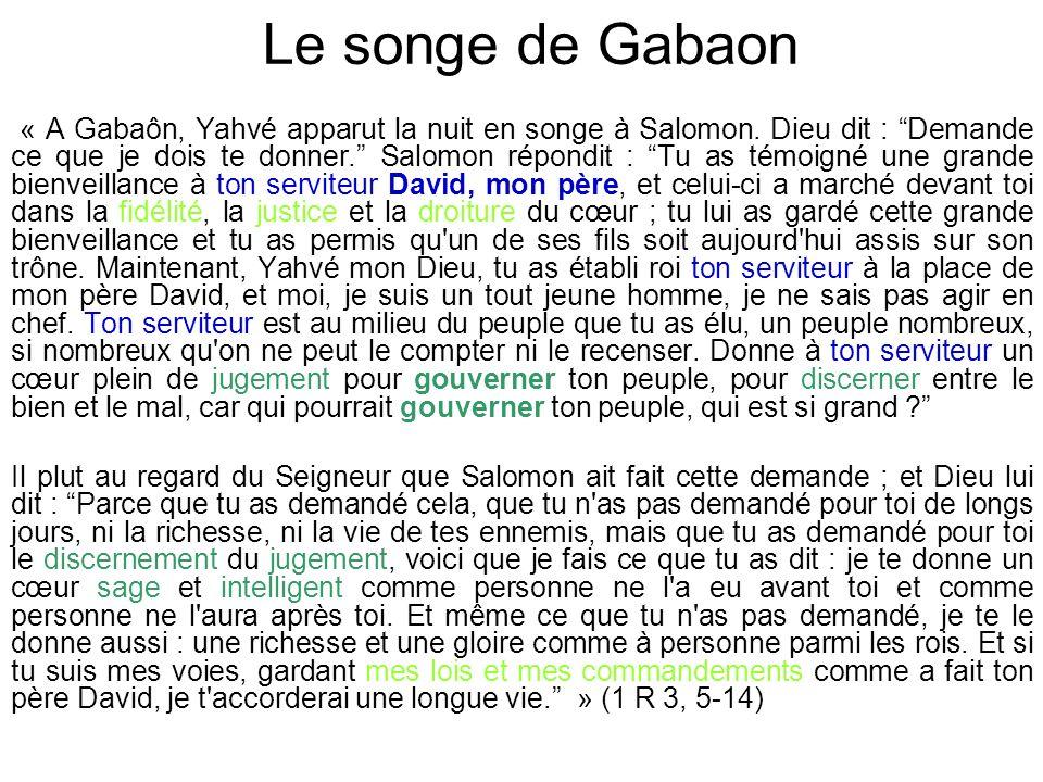« A Gabaôn, Yahvé apparut la nuit en songe à Salomon.