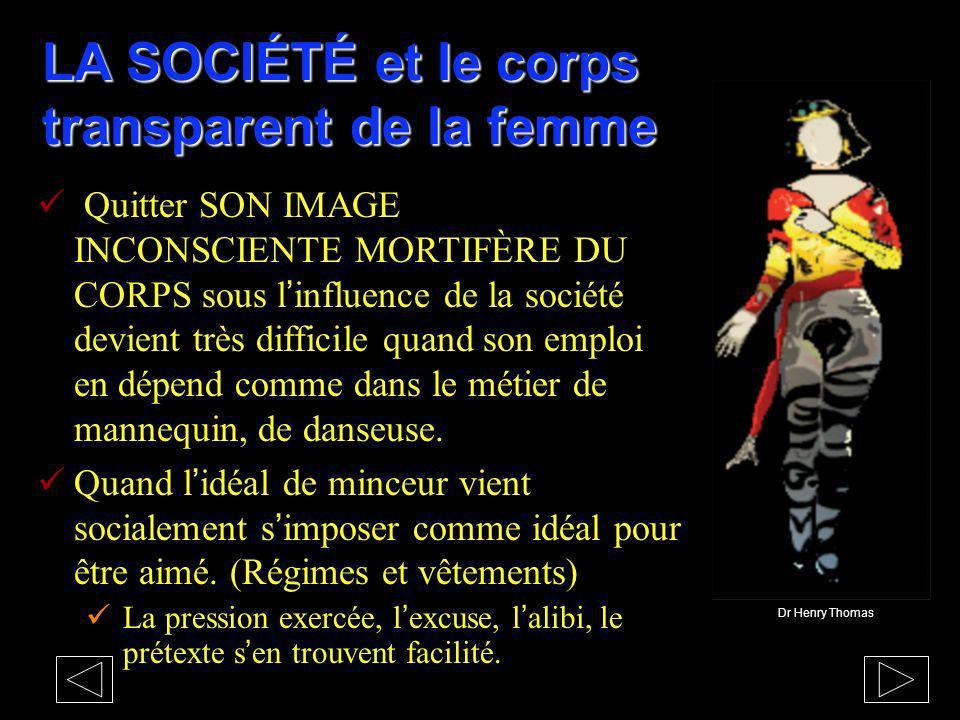 LA SOCIÉTÉ et le corps transparent de la femme Quitter SON IMAGE INCONSCIENTE MORTIFÈRE DU CORPS sous linfluence de la société devient très difficile