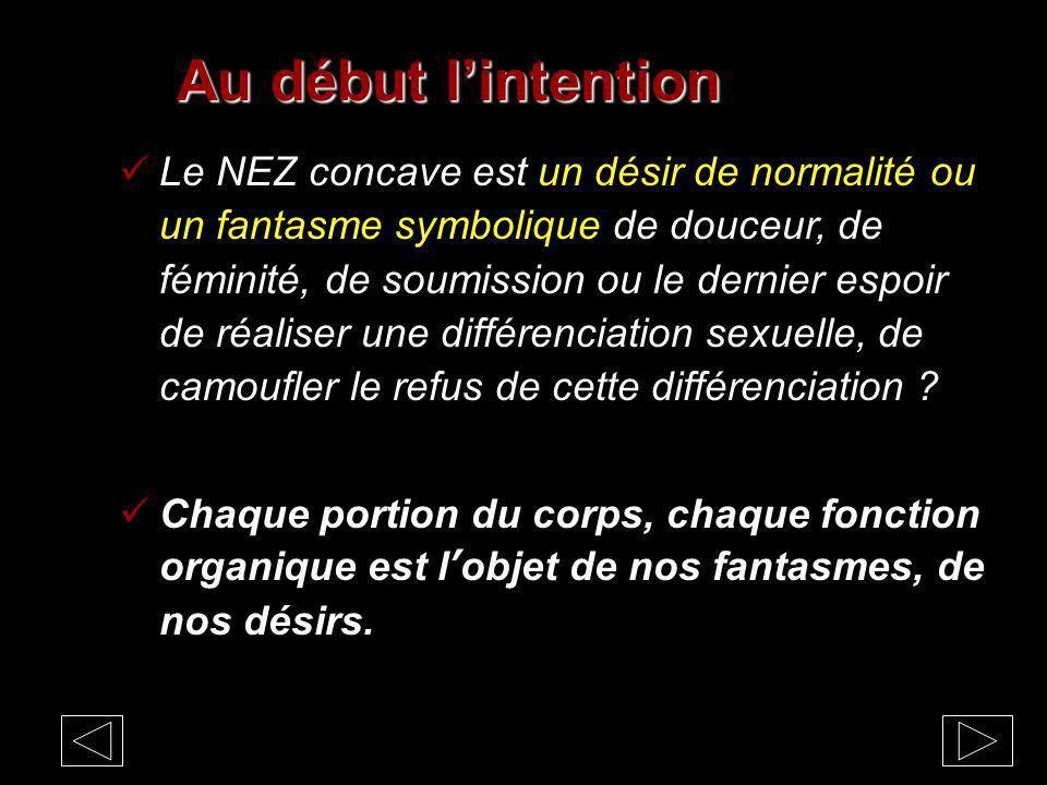 Au début lintention Le NEZ concave est un désir de normalité ou un fantasme symbolique de douceur, de féminité, de soumission ou le dernier espoir de réaliser une différenciation sexuelle, de camoufler le refus de cette différenciation .