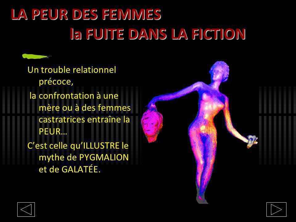 LA PEUR DES FEMMES la FUITE DANS LA FICTION Un trouble relationnel précoce, la confrontation à une mère ou à des femmes castratrices entraîne la PEUR…