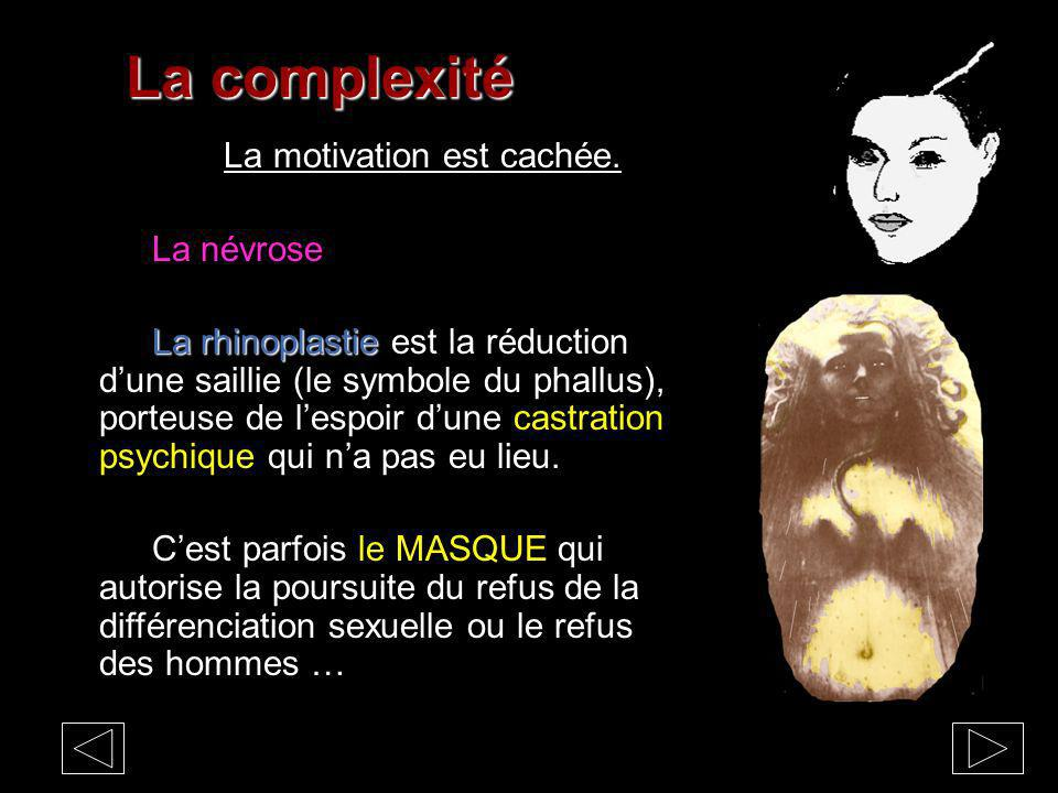 La complexité La motivation est cachée. La névrose La rhinoplastie La rhinoplastie est la réduction dune saillie (le symbole du phallus), porteuse de
