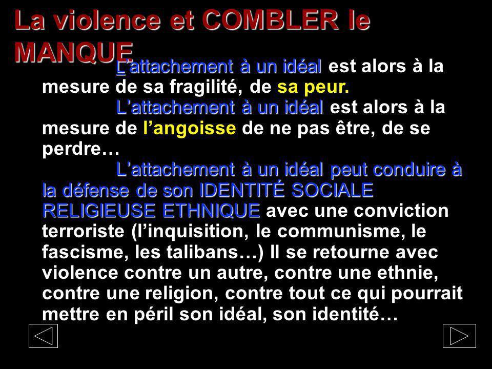 La violence et COMBLER le MANQUE Lattachement à un idéal Lattachement à un idéal est alors à la mesure de sa fragilité, de sa peur.