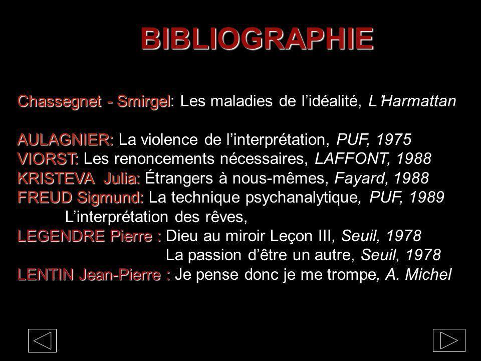 BIBLIOGRAPHIE Chassegnet - Smirgel Chassegnet - Smirgel: Les maladies de lidéalité, LHarmattan AULAGNIER: AULAGNIER: La violence de linterprétation, P