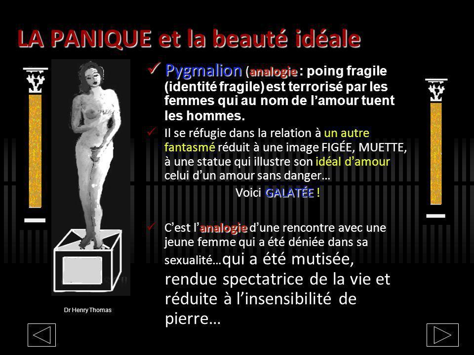 LA PANIQUE et la beauté idéale Pygmalion analogie Pygmalion (analogie : poing fragile (identité fragile) est terrorisé par les femmes qui au nom de lamour tuent les hommes.
