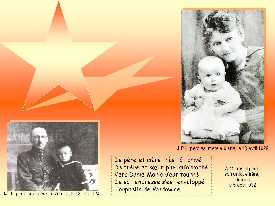 En la Pologne malmenée Dans un monde enténébré Est surgie par Dieu formée Dans un village fort ignoré Une étoile à Wadowice Maison natale