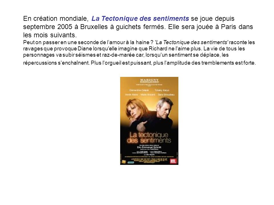 En création mondiale, La Tectonique des sentiments se joue depuis septembre 2005 à Bruxelles à guichets fermés. Elle sera jouée à Paris dans les mois