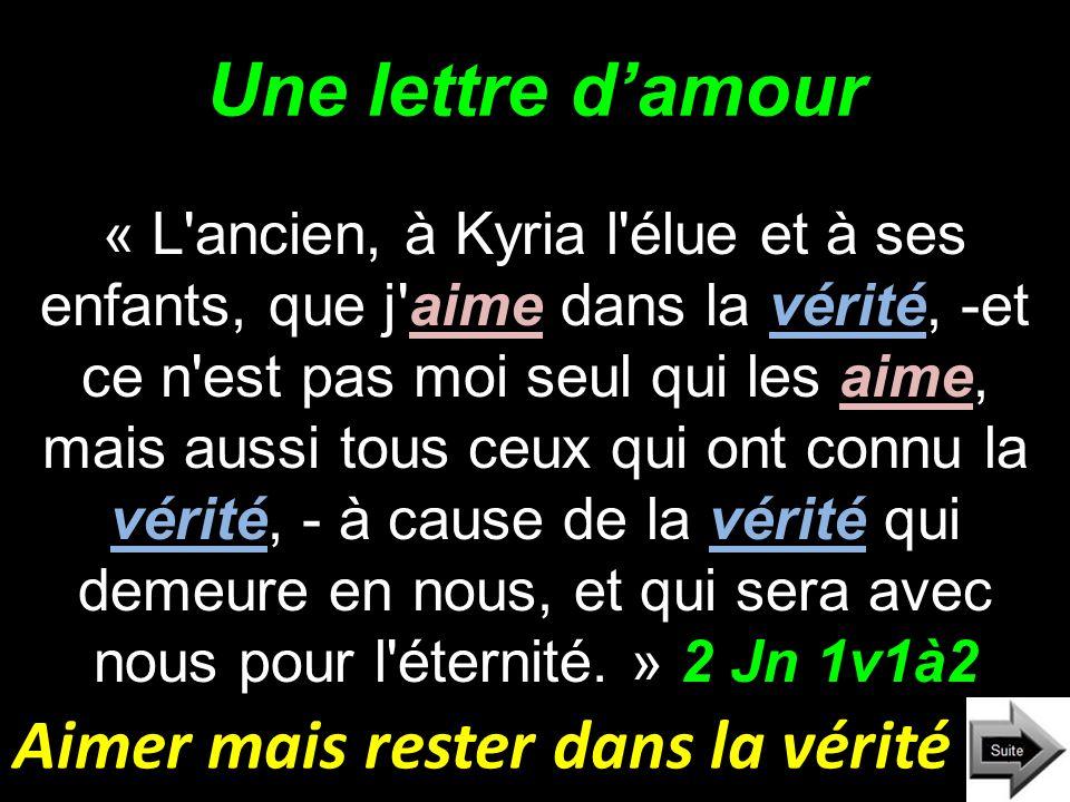 Une lettre damour « L'ancien, à Kyria l'élue et à ses enfants, que j'aime dans la vérité, -et ce n'est pas moi seul qui les aime, mais aussi tous ceux
