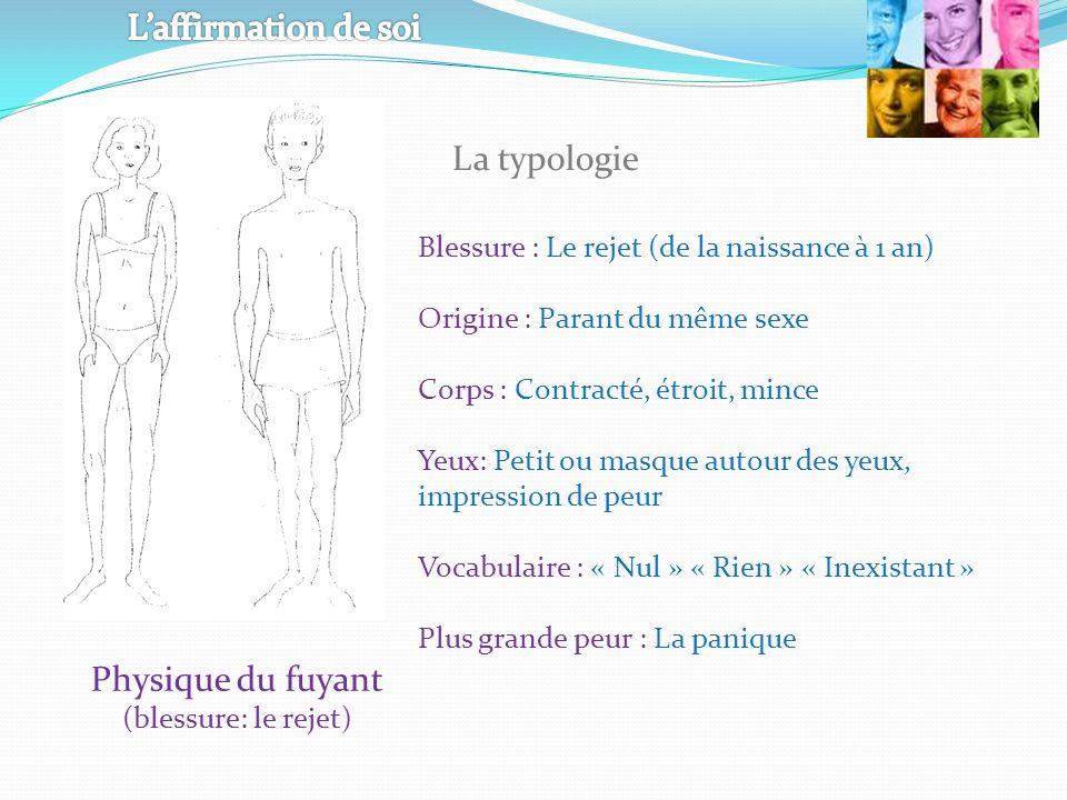 Physique du fuyant (blessure: le rejet) Blessure : Le rejet (de la naissance à 1 an) Origine : Parant du même sexe Corps : Contracté, étroit, mince Ye