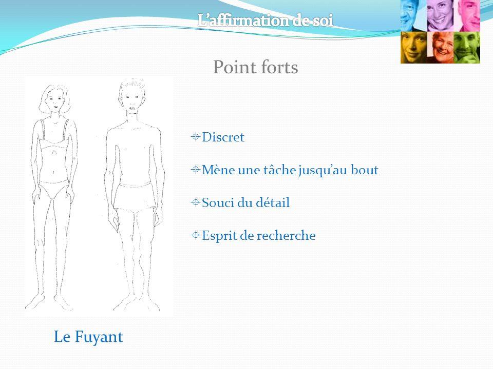 Le Fuyant Discret Mène une tâche jusquau bout Souci du détail Esprit de recherche Point forts