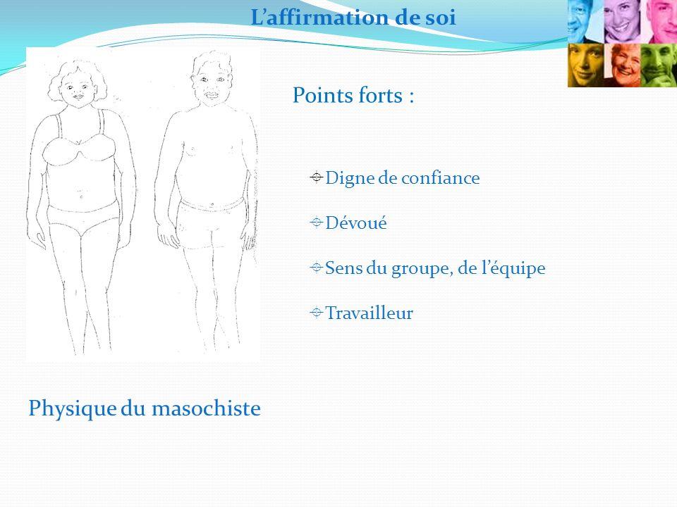 Physique du masochiste Digne de confiance Dévoué Sens du groupe, de léquipe Travailleur Laffirmation de soi Points forts :