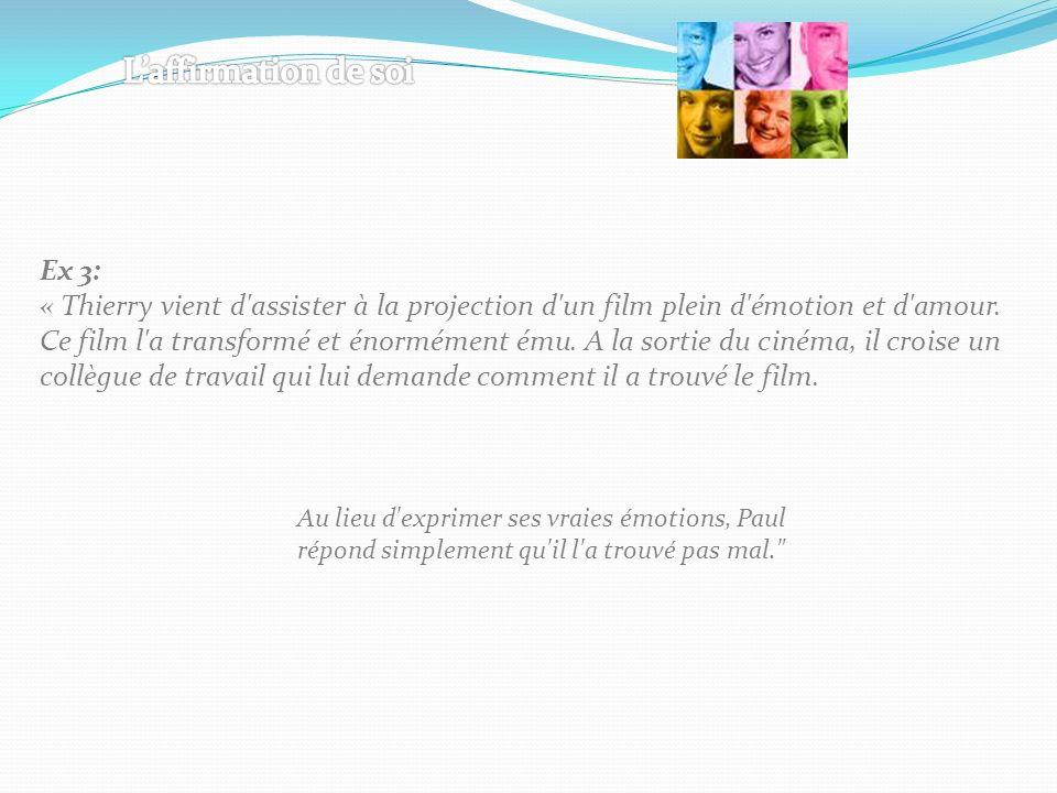 Ex 3: « Thierry vient d'assister à la projection d'un film plein d'émotion et d'amour. Ce film l'a transformé et énormément ému. A la sortie du cinéma