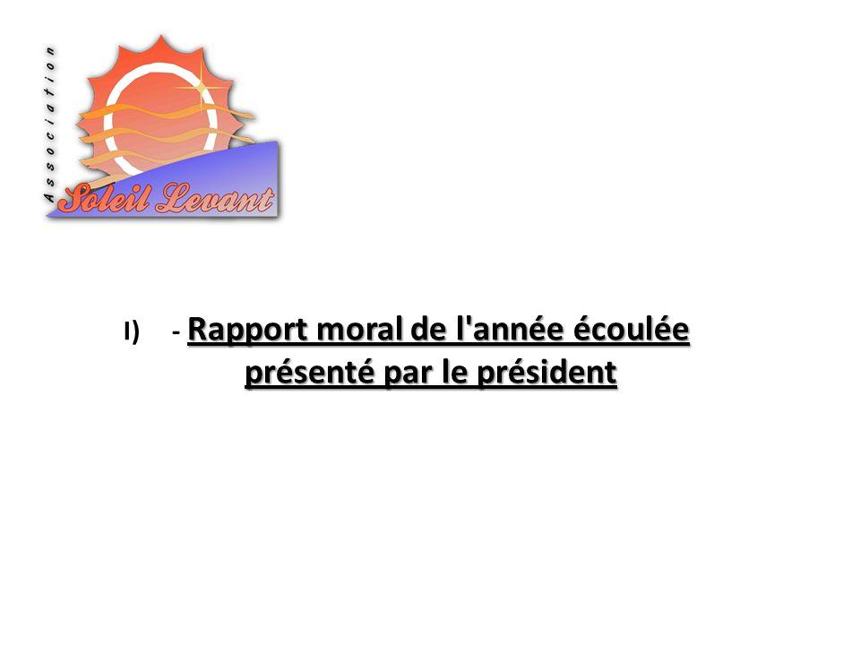Rapport moral de l année écoulée présenté par le président I)- Rapport moral de l année écoulée présenté par le président