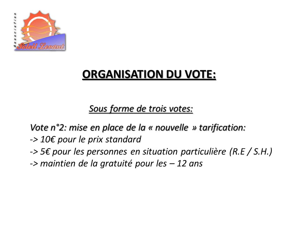 ORGANISATION DU VOTE: Sous forme de trois votes: Vote n°2: mise en place de la « nouvelle » tarification: -> 10 pour le prix standard -> 5 pour les personnes en situation particulière (R.E / S.H.) -> maintien de la gratuité pour les – 12 ans