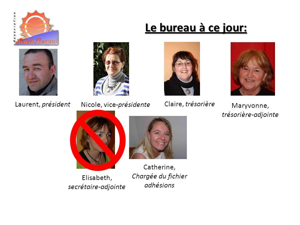 Laurent, président Le bureau à ce jour: Nicole, vice-présidente Claire, trésorière Elisabeth, secrétaire-adjointe Catherine, Chargée du fichier adhésions Maryvonne, trésorière-adjointe