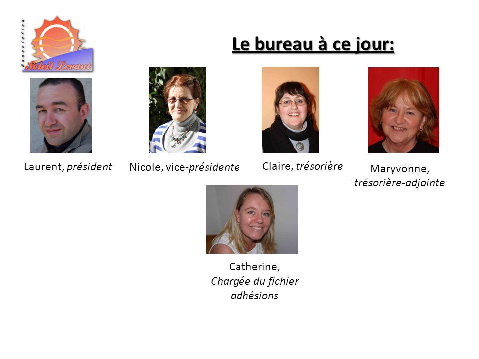 Laurent, président Le bureau à ce jour: Nicole, vice-présidente Claire, trésorière Catherine, Chargée du fichier adhésions Maryvonne, trésorière-adjoi