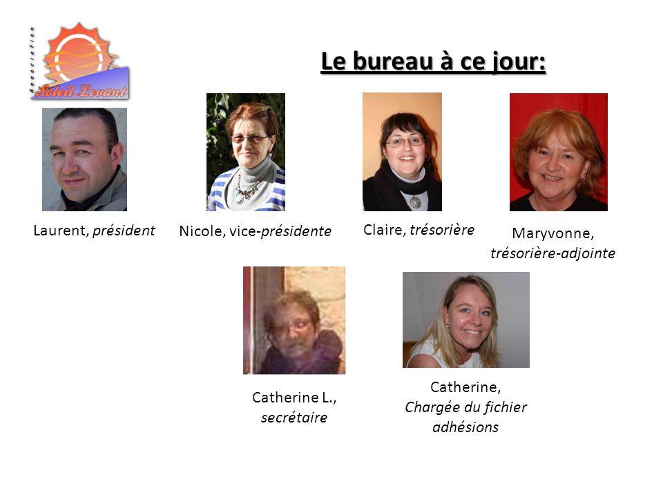 Laurent, président Le bureau à ce jour: Nicole, vice-présidente Claire, trésorière Maryvonne, trésorière-adjointe Catherine, Chargée du fichier adhési
