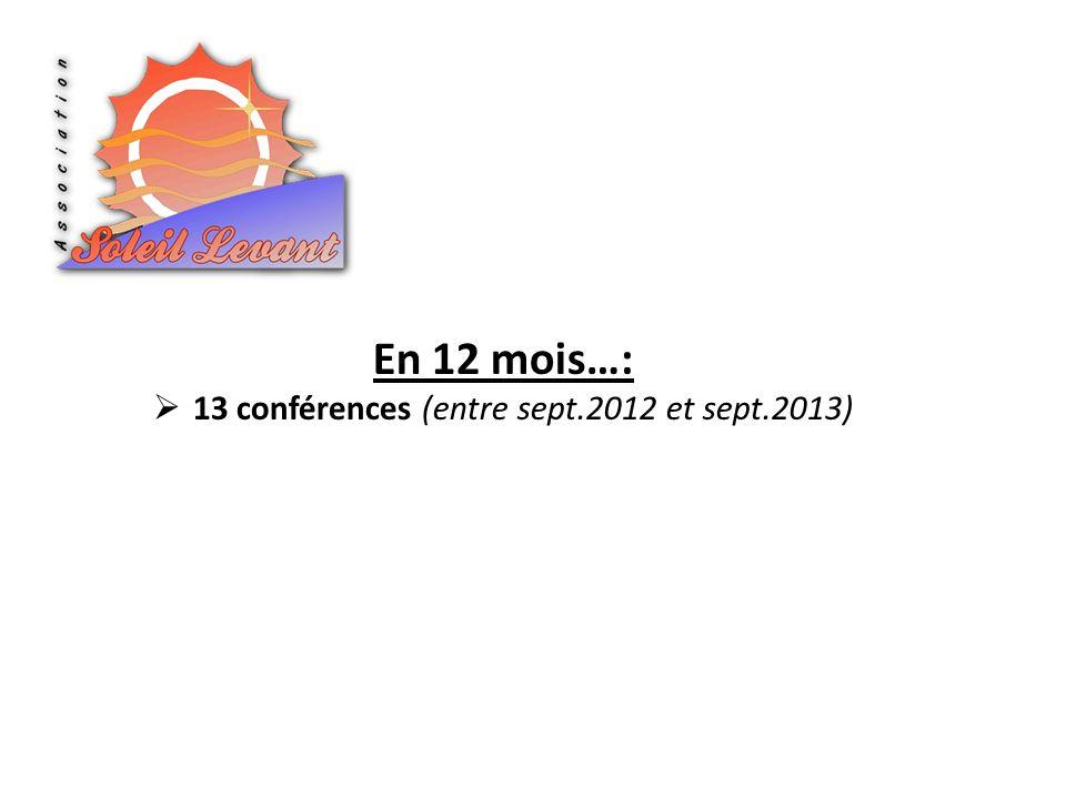13 conférences (entre sept.2012 et sept.2013)