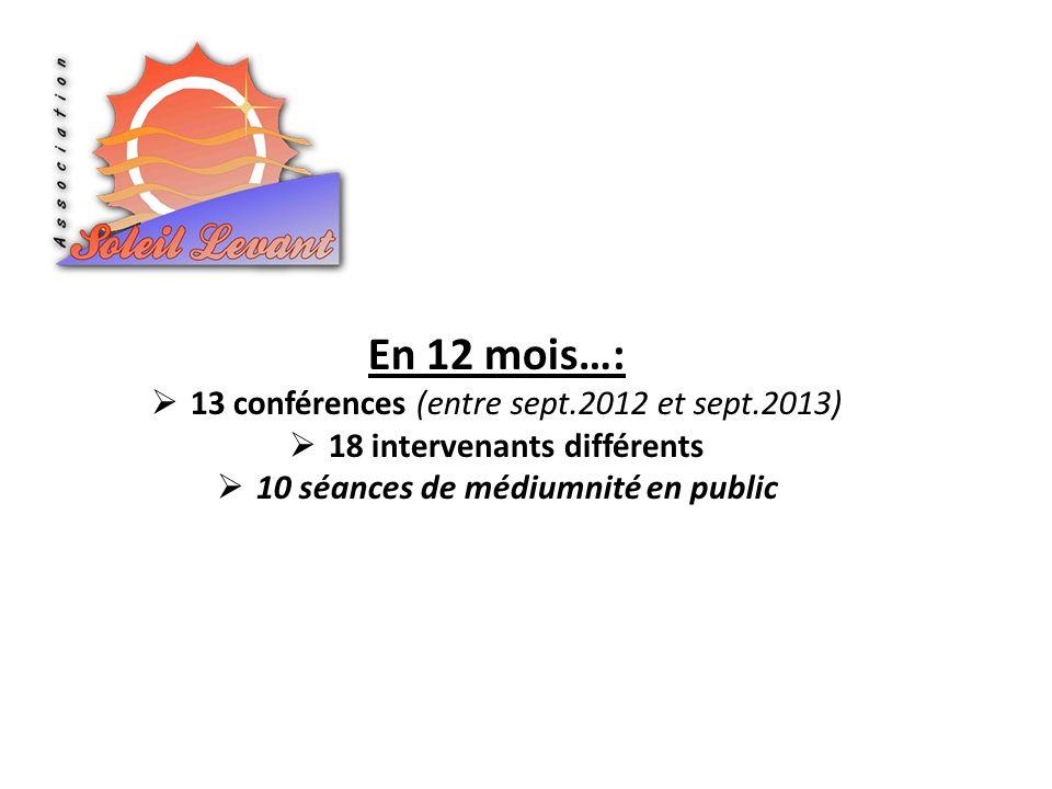 En 12 mois…: 13 conférences (entre sept.2012 et sept.2013) 18 intervenants différents 10 séances de médiumnité en public