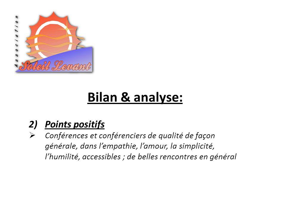 Bilan & analyse: 2)Points positifs Conférences et conférenciers de qualité de façon générale, dans lempathie, lamour, la simplicité, lhumilité, access