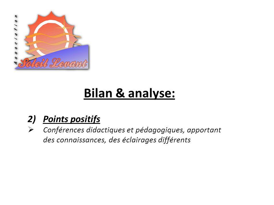 Bilan & analyse: 2)Points positifs Conférences didactiques et pédagogiques, apportant des connaissances, des éclairages différents
