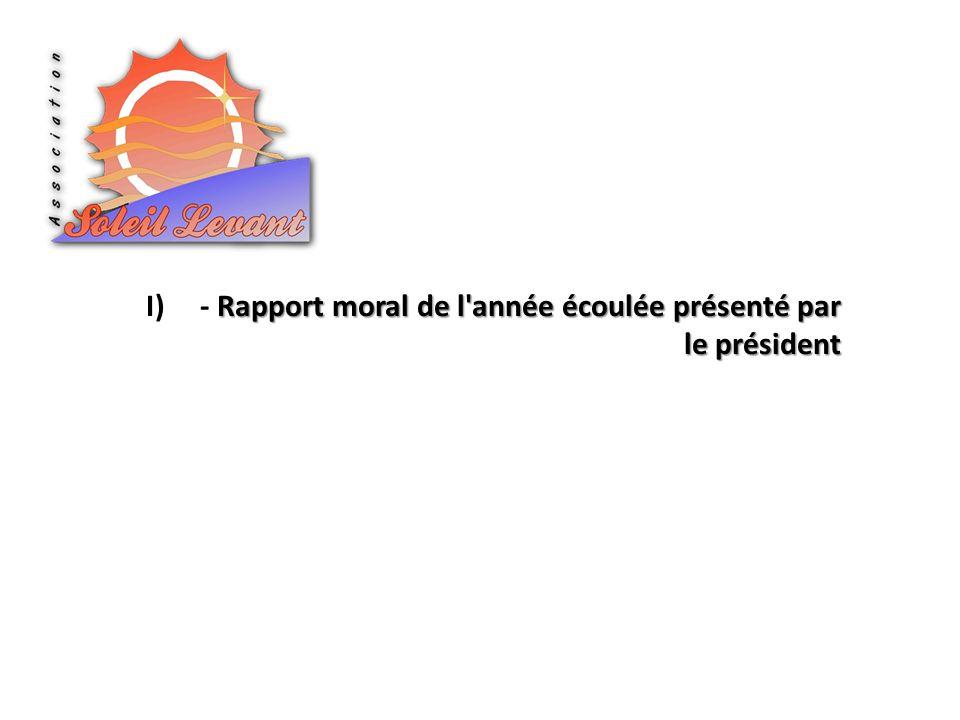 Rapport moral de l'année écoulée présenté par le président I)- Rapport moral de l'année écoulée présenté par le président