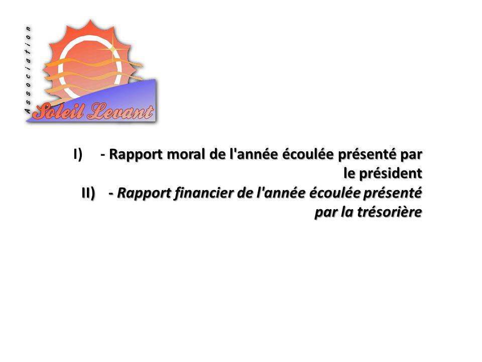 II)- Rapport financier de l année écoulée présenté par la trésorière