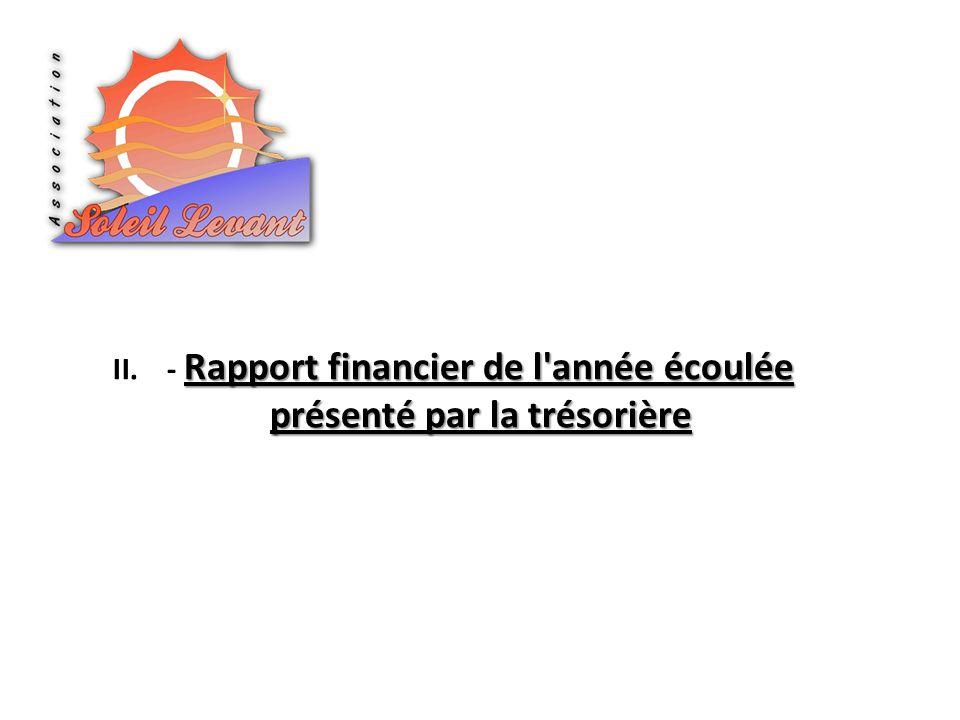 Rapport financier de l année écoulée présenté par la trésorière II.- Rapport financier de l année écoulée présenté par la trésorière